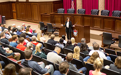 A crowd packed the Liberty University School of Law Supreme Courtroom to hear Pirro speak on Tuesday. (Photo by Nathan Spencer)