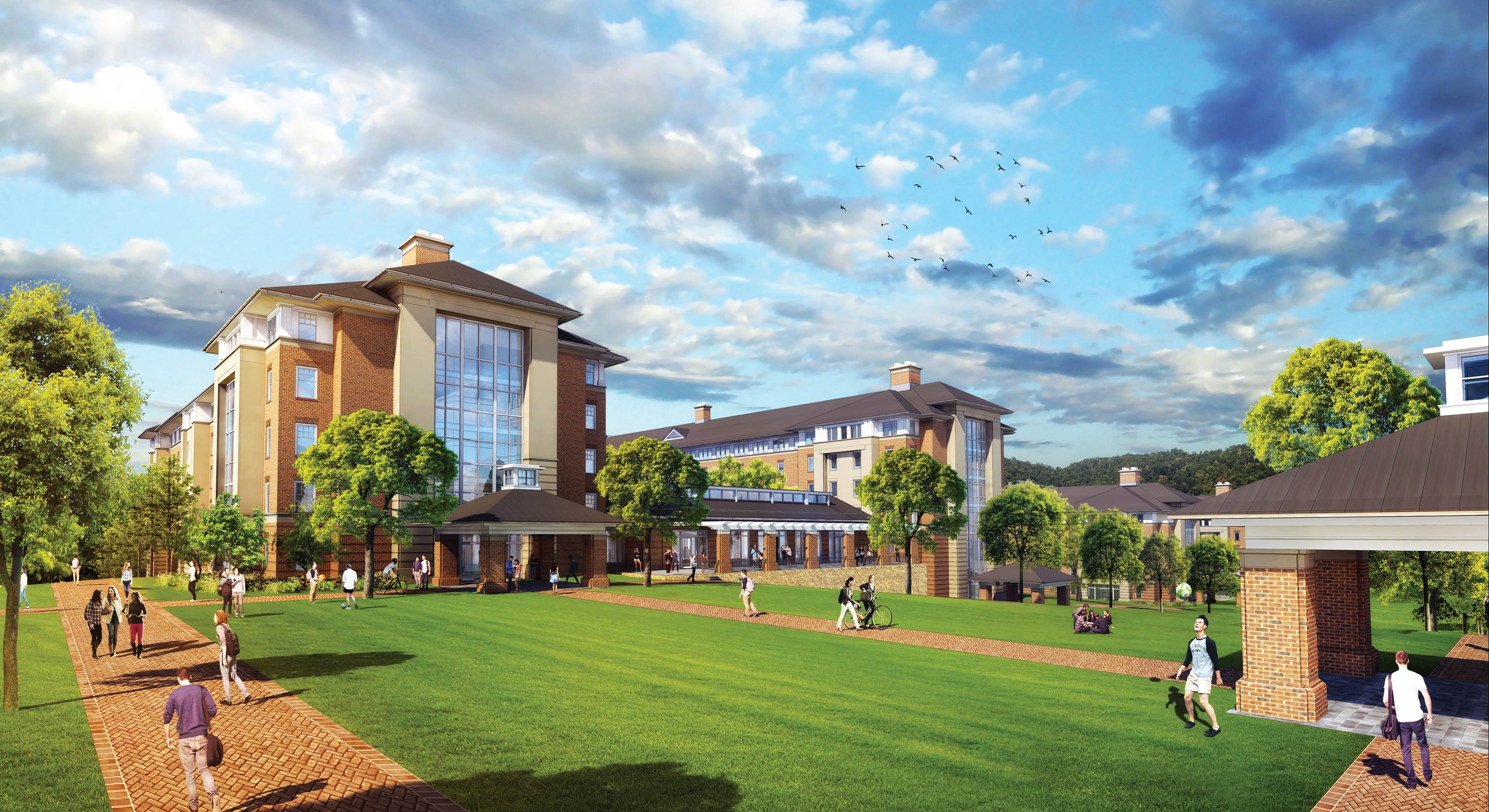 A rendering of Residential Commons III facing the Campus Walk.