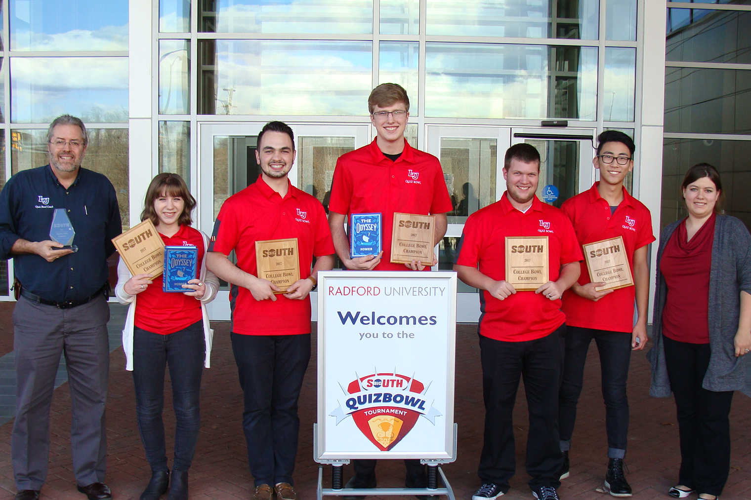 Liberty University's Big South Conference champion Quiz Bowl team (from left): Head Coach Dr. Jim Nutter, Leah DePiero, Mark Whitten (captain), Kristian Myrdal, Nathan Cook, Micah Protzman, and Assistant Coach Whitney Logan.