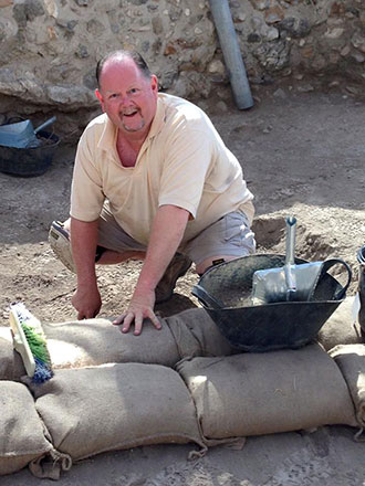 Dr. Chet Roden digs as part of an archaeological team in Gezer, Israel, last May 20-June 20.