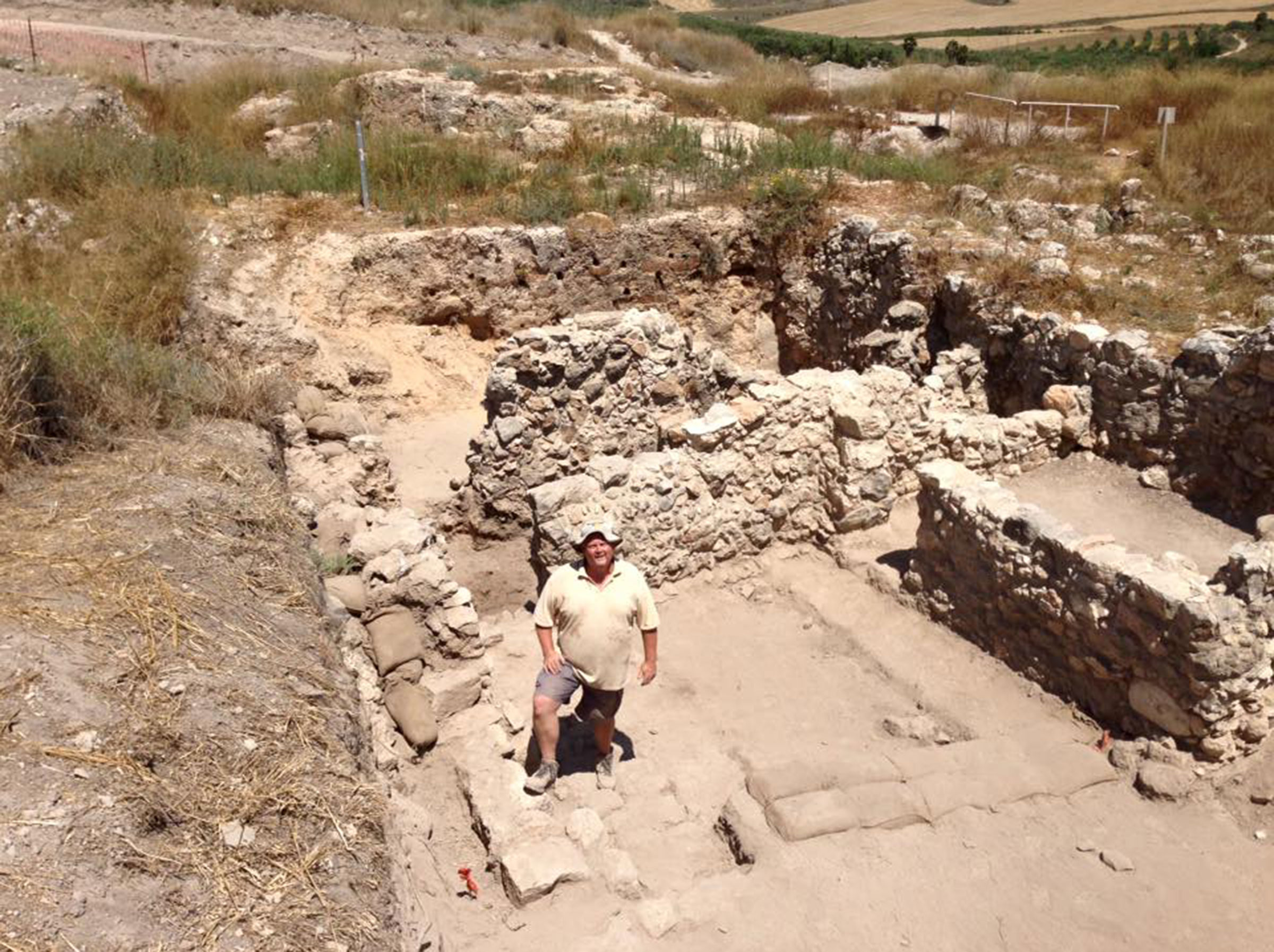 Dr. Chet Roden stands in the excavation site, near a water tunnel in the biblical city of Gezer.