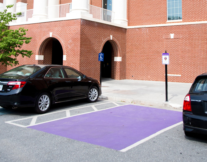 A parking space in front of DeMoss Hall has been reserved for combat wounded veterans.