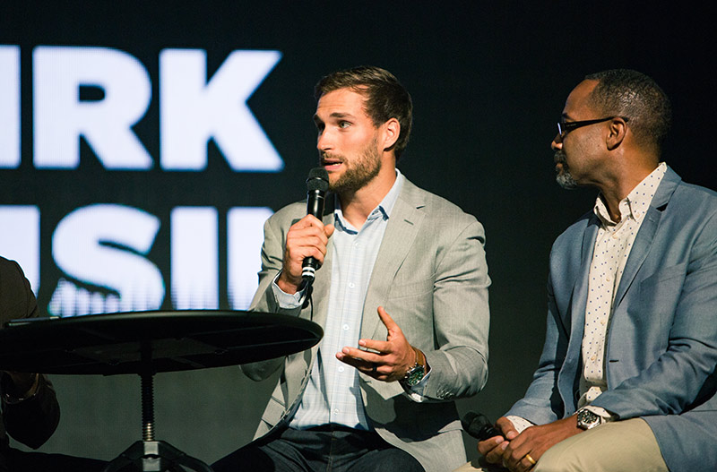 Washington Redskins starting quarterback Kirk Cousins, a Pro Bowl selection in 2016, talks to the Liberty University Convocation crowd about how his faith has guided him through his football career. (Photo by Caroline Cummings)