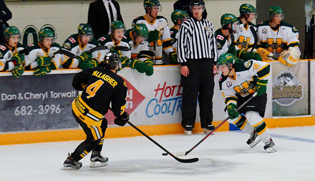 Current Liberty ACHA Division I men's hockey defenseman Josh Bergen (right, on the ice) played for the Humboldt Junior 'A' Broncos from 2014-16.
