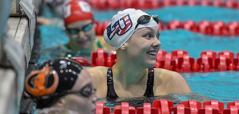 Lady Flames freshman Payton Keiner will compete in the 100 backstroke on Friday and the 200 back on Saturday.