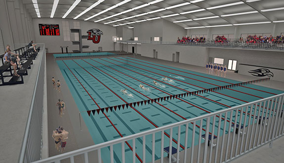 an artist renderings view from the inside of liberty universitys natatorium being constructed on liberty