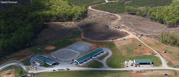 An aerial view of the Liberty University Equestrian Center.