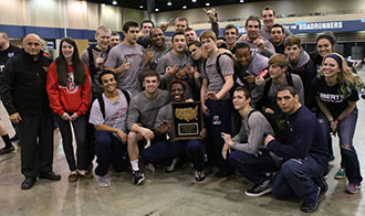 Liberty's wrestling team celebrates its second NCWA National Duals title in four years.