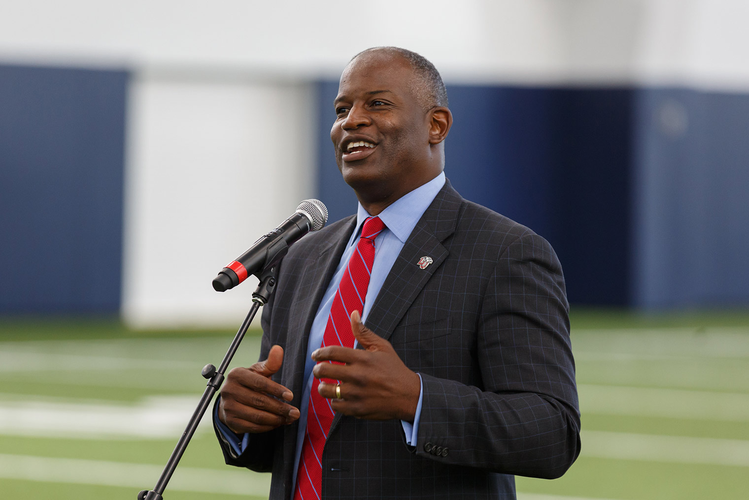 Liberty Head Coach Turner Gill, shown at a grand opening for the Liberty Indoor Practice Facility on Aug. 18, 2017, announced his seventh recruiting class on Wednesday. (Photo by Joel Coleman)