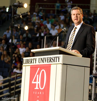 Liberty University Chancellor Jerry Falwell Jr announces creation of new School of Communication film program