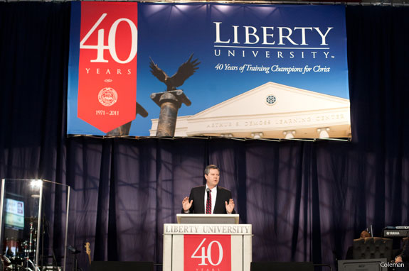 Liberty University Chancellor Jerry Falwell Jr addresses students