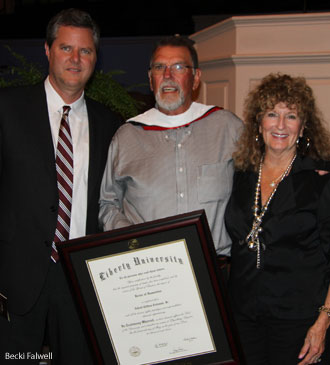 "Jerry Falwell Jr, A.C. ""Buzzy"" Coleman, of Coleman-Adams Construction, and Martha Anne Coleman"