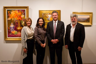 Chancellor Jerry Falwell Jr and his wife Becki Falwell with artists Lois Virginia Babb and David Heath.