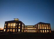 Jerry Falwell Library at night