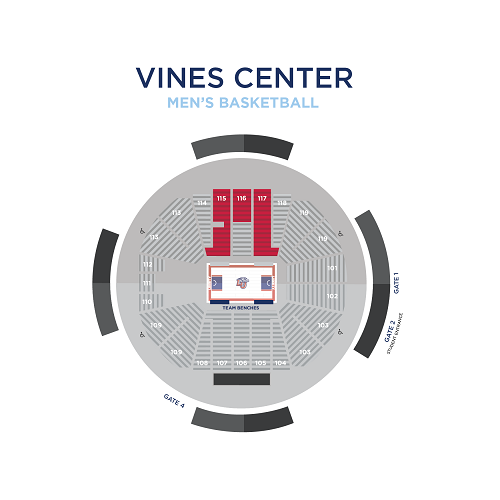 Mens' Basketball Premium Seating Map