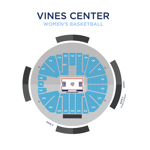 Women's Basketball General Admission Seating Map