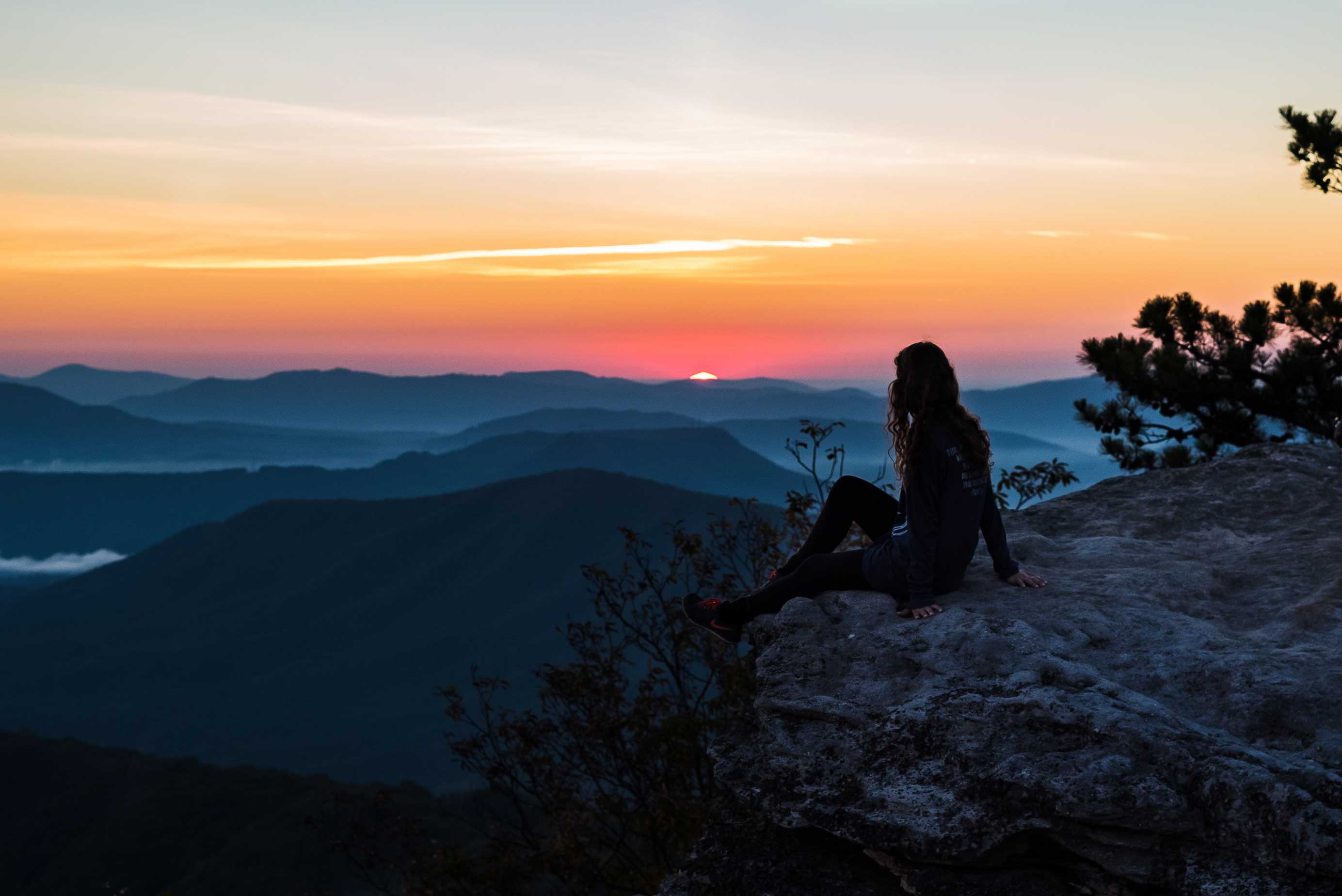Sitting at the lookout point from McAfee knob