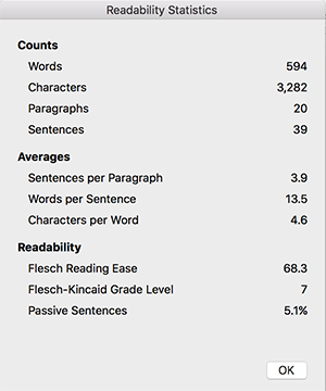 MS Word Readability Statistics