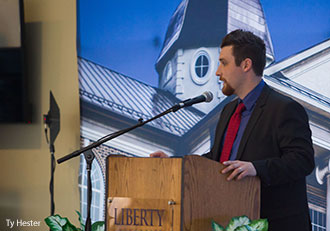 Jake Hannon speaks at Liberty University's annual Club Sports Awards Banquet.