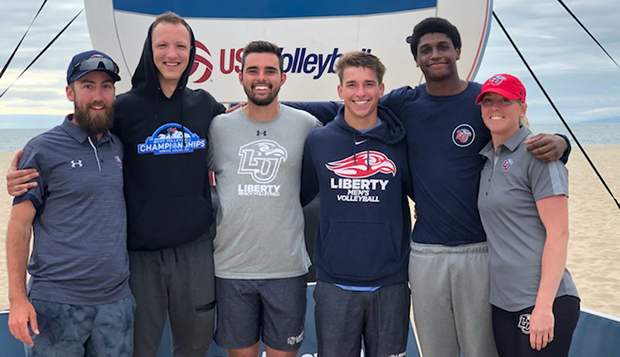 Head Coach Kaleb VanDePerre (left) and Assistant Coach Jess Nelson (right) flank the Flames' Josh Knapp, Matt Jones, Kaden Knepper, and Gene Dejesus. (Submitted photo) test test test test