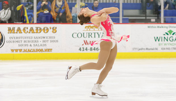 Liberty senior Brigitte Kovar placed fifth in her Ladies Novice freeskate long program and sixth in the short program, Saturday at the LaHaye Ice Center. test test test test