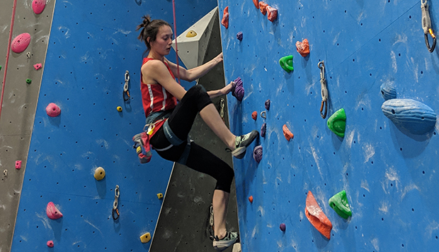 Casey Mahoney, fifth in women's speed climbing, is Liberty's only nationals qualifier in that event. (Photo by Elliot Gaunt) test test test test
