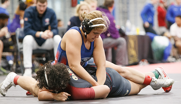 Lady Flames senior Cendall Manley will be contending for her fourth consecutive NCWA Grand National championship at 170 pounds. (Photo by Luke Bobbey) test test test test