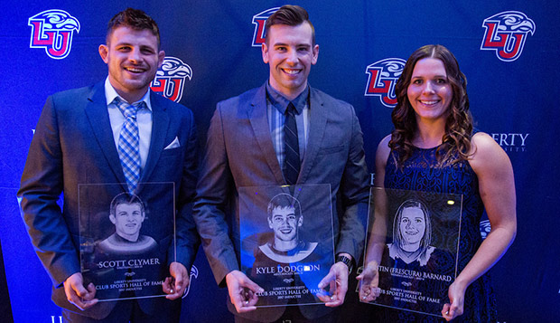 Scott Clymer (left), Kyle Dodgson, and Kristin (Frescura) Barnard were enshrined into the fourth Club Sports Hall of Fame class on Friday night at the Montview Student Union Alumni Ballroom. (Photos by Andrew Snyder) test test test test