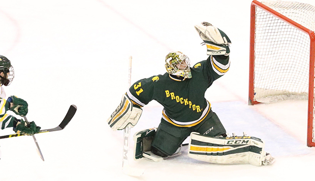 Cole Burack reaches high to make a glove save for SUNY Brockport, an NCAA Division III program near Rochester, N.Y. test test test test