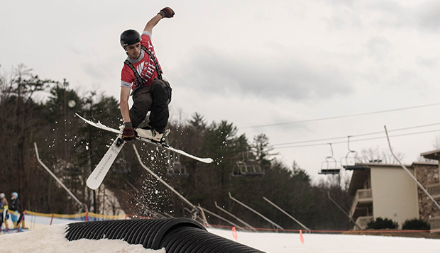 Liberty sophomore Cole Loomis performs a stunt on a rail feature at last February's Southeast Regional competition at Bryce Mountain. (Photo courtesy of Isaac Gibson) test test test test