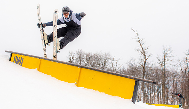 Sophomore Cole Loomis placed second in the men's skiing Slopestyle at Seven Springs. (Photos courtesy of Skyler Fusco) test test test test