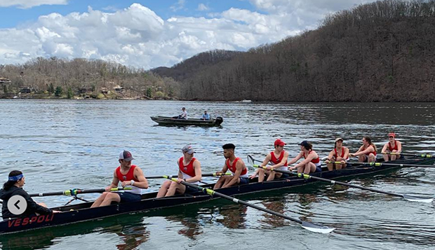 The women's Novice 4 and men's Varsity 4 combined to finish third in Saturday's mixed 8 race, coxed by Isabella Diaz (left). test test test test