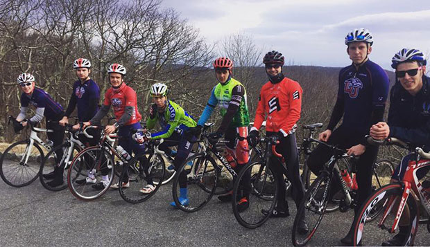 Members of Liberty's cycling team pose atop Thunder Ridge during a Feb. 11 training ride along the Blue Ridge Parkway. test test test test