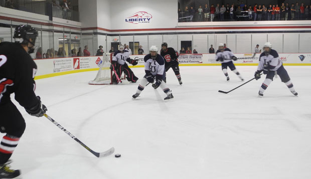 The Liberty Flames' Men's Division II Hockey Team defeated the NC State Wolfpack Friday night at the LaHaye Ice Center. test test test test