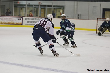 Junior Bobby Cervone (#19) makes a play towards the goal in the Liberty University DII men's hockey victory over Hampton Friday night. test test test test