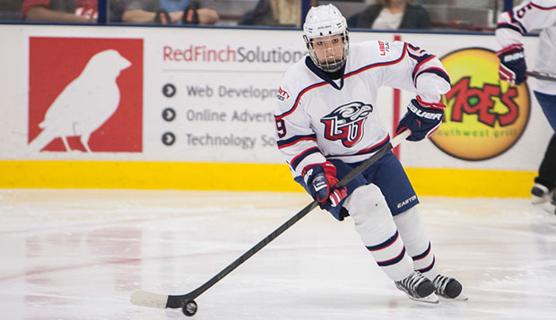 Liberty freshman defenseman Alexis Alexopoulas assisted senior forward Amanda Grainger's first score in Friday's opener at Miami (Ohio), a 3-2 loss to the defending ACHA DI champs. test test test test