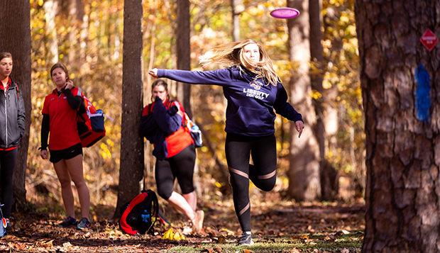 Liberty's women's Championship Flight disc golf team is coming off first- and second-place showings at the past two NCDG National Championships. (Photo by Nathan Spencer) test test test test