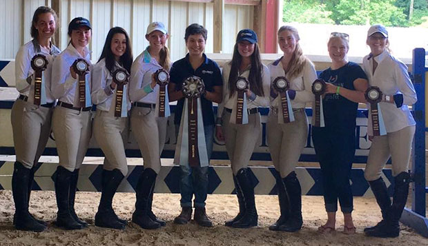 Hunter Seat riders who helped Liberty place eighth at Goucher College in Baltimore on Saturday (from left): Kendall Burdette, Zoe Leppke, Anna Davidson, Bailey Boan, Cassie Steptoe, Liz Chenelle, April Simmonds, and Hannah Sensing. test test test test