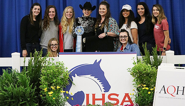 Junior Erin Mays (in black hat) and Western Equestrian Coach Lauren Eagles were joined by several teammates in Harrisburg. (Photos courtesy of Kaleigh Bryce) test test test test