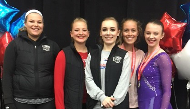 Chelsea Henry (from left), Emily Hautbois, Cheyenne Peterson, Sibylle Harter, and Angela Bosher formed the largest Lady Flames contingent to compete at the U.S. Figure Skating Collegiate National Championships over the weekend. test test test test