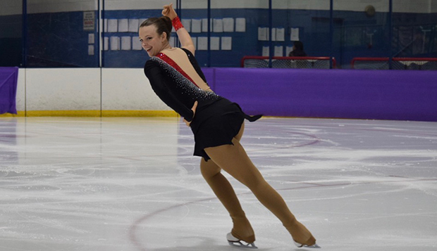 Lady Flames sophomore Angela Bosher earned a first-place showing in the Novice Freeskate on Sunday at NYU. (Submitted photo by Katherine Thacker) test test test test