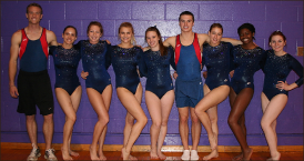 Balanced — Rachel Steele, Steven Lucia and other members of Liberty's gymnastics team won podium placements at JMU. Photo provided