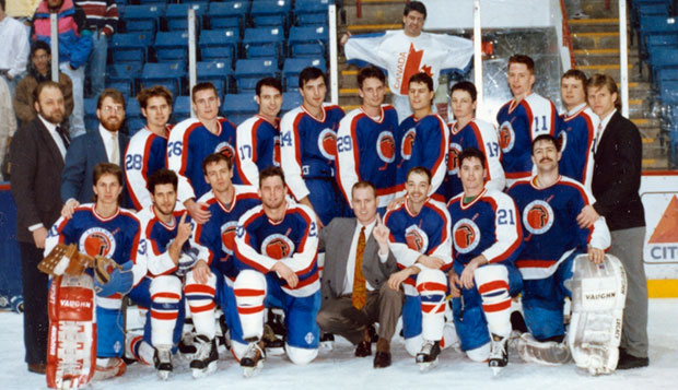 Dr. Gary Habermas (back left) coached the Flames from 1985-94, instilling a tenacious work ethic in his players and laying the foundation for an ACHA program that now features Division I, II, and III teams. test test test test