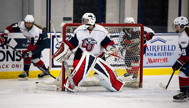 Senior goalie Kelly Hutton's three shutouts lowered her goals-against average to 1.48. (Photo by Jessie Rogers) test test test test
