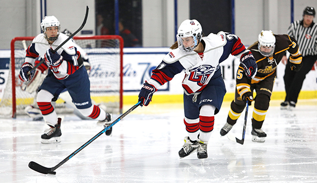 Sophomore forward Hope Stengler, shown skating against Rowan, scored the Lady Flames' final goal in Saturday's 4-2 semifinal win over Navy. (Photo by Jenna McKenney) test test test test