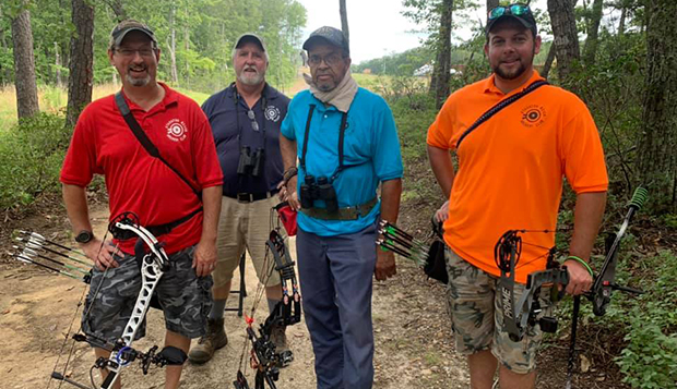 Former LU archery Head Coach Ian Rigney (right) placed fifth in the Men's Open division while his father, Steve (left), struck silver in the Senior Men's Open class. (Photos by Ben Summers) test test test test
