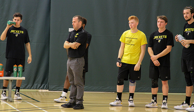 Jared Horrigan (front) coaches his first-year men's volleyball team at Randolph-Macon College. (Submitted photo) test test test test