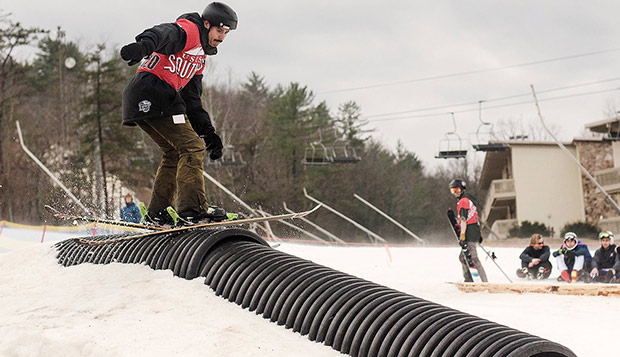 Flames sophomore Jeff Loftus led Liberty with his sixth-place performance in Sunday's Rail Jam at Bryce Resort. test test test test