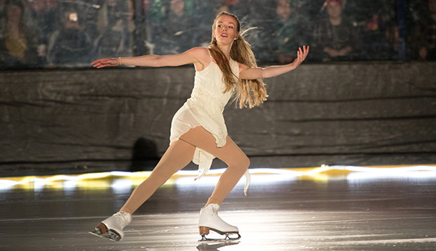 Lady Flames junior Katherine Thacker performs in Liberty's 'Praisefest: Christmas on Ice' show, Dec. 15, 2017, in the LaHaye Ice Center. (Photo by Kevin Manguiob)  test test test test