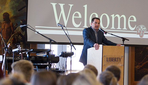 Liberty Club Sports Athletic Director Kirk Handy offers welcoming remarks at the first Convocation for the program's 700-plus student-athletes on Oct. 4. (Photos by Jessie Rogers) test test test test